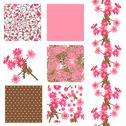 Stock Illustration of set of 6 elegant seamless patterns with decorative pink flowers, design elements
