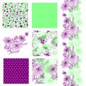 Stock Illustration of set of 6 elegant seamless patterns with decorative flowers,  design elements