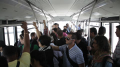Interior shot of people in airport bus Stock Footage