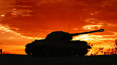 Military, armor turret  turns at sunset Stock Footage