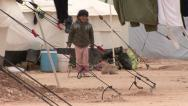 Stock Video Footage of Girl plays cord in Zaatari Refugee Camp