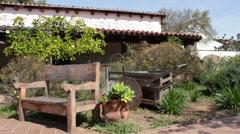 Old Town Hacienda Garden Bench Stock Footage