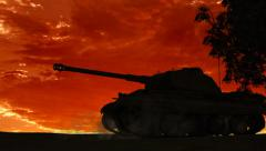 Military Armored Fighting Vehicle  in ride at Sunset - Silhouette Stock Footage