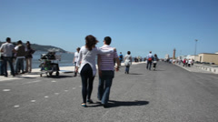 People enjoying holiday in beach Stock Footage