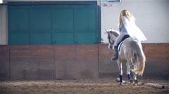 Slow Motion Unicorn Horse Riding Princess Stock Footage