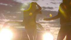 Closeup Of Girls Dancing At Night In The Desert Stock Footage