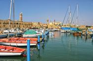 Stock Photo of old harbor in acre, israel.