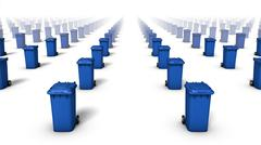 High angle view of endless Trashcans (Blue) Stock Photos