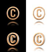 three dimensional wooden copyright symbol. isolated on white and black. - stock illustration