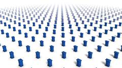 Bird's eye view of endless Trashcans (Blue) in a grid pattern - stock photo