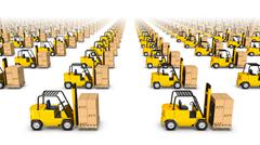 High angle side view of endless Forklifts with Box Stock Photos