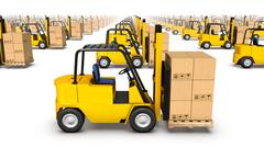 Side close-up view of endless Forklifts with Box - stock photo