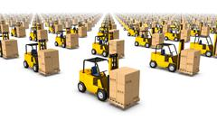 High angled diagonal view of endless Forklifts with Box Stock Photos
