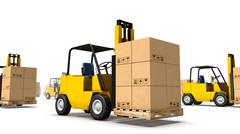 Angled close-up of endless Forklifts with Box - stock photo