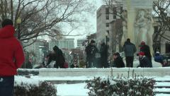 Snowball fight urban, millennials, et al, DC fun Stock Footage