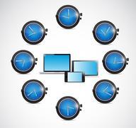 Time around electronics illustration design Stock Illustration