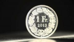 1 swiss franc Stock Footage