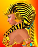 Profile of Egyptian woman Pharaoh Queen. Stock Illustration