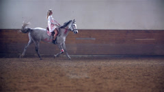Slow Motion Bloody Princess Riding White Horse Stock Footage