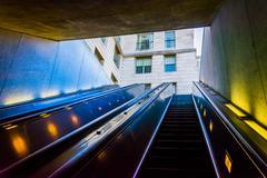 Escalators in the smithsonian metro station, washington, dc. Stock Photos