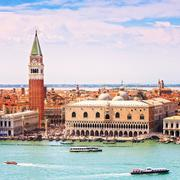 Venice aerial view, piazza san marco with campanile and doge palace. italy Stock Photos