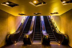 escalators in the smithsonian metro station, washington, dc. - stock photo