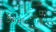 Silhouette of modern printed-circuit board, Motorized Dolly Shot Stock Footage