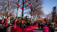 People enjoy temple fair during Chinese Spring Festival in Beijing, Stock Footage