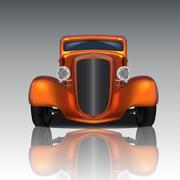 orange hot rod - stock illustration