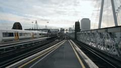 Railway overground train in london Stock Footage