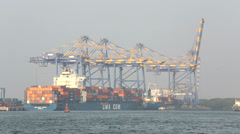 Kochi Container Docks ship in Port, Cochin, India Stock Footage