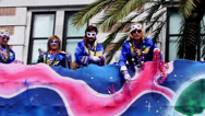 Stock Video Footage of Throwing Beads from a Mardi Gras Parade Float 4098