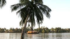 House boat backwaters Alleppey, Kerala, India, Asia Stock Footage