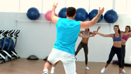 Stock Video Footage of Aerobics class exercising together