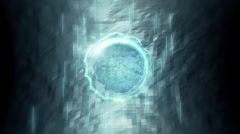 VJ Loop - Blue liquid sphere surrounded by light streaks and triangle ring Stock Footage