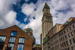 The custom house clock tower in downtown boston, massachusetts. Stock Photos