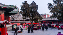 The visitors and toy sellers in Dongyue temple fair Stock Footage