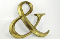 gold antiqued ampersand symbol - stock photo