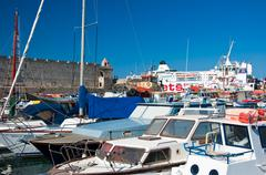 Harbour in a old town on Rhodes island, Greece Stock Photos