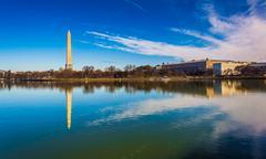 The washington monument reflecting in the tidal basin, washington, dc. Stock Photos