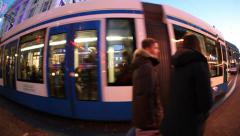 Tram in Leidsplein square and street in Amsterdam, Holland Stock Footage