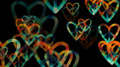 Colorful hearts animation background Stock Footage