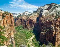 Zion Canyon from Atop Angels Landing - stock photo