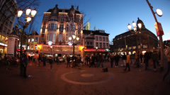 Leidsplein square and street in Amsterdam, Holland Stock Footage