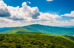 view of the blue ridge mountains from south marshall, in shenandoah national  - stock photo