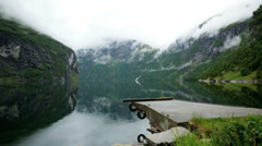 Beautiful view at Geiranger fjord mist mountain time lapse 4K Stock Footage