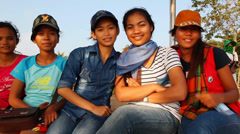 Girls, Cambodia Stock Footage