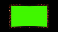 0791 Flashing Lights Movie Sign with Green Screen and Alpha Stock Footage