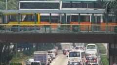 Asia China Hong Kong Wanchai rush hour Traffic Jam congestion Stock Footage
