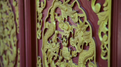 Dragon Painted Carved in temple of china Stock Footage